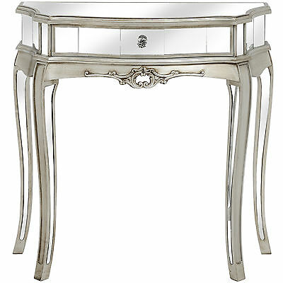Argene Mirrored One Drawer Half Moon Console - Stylish Addition To The Home.