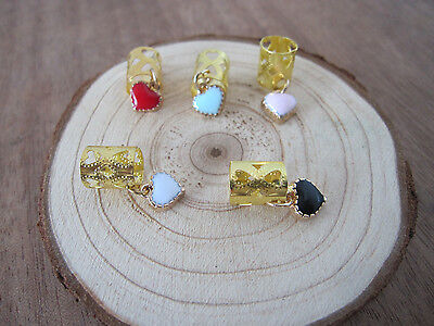 20 Gold Heart Dreadlock Dread Beads Cuff Clip With Heart Charms