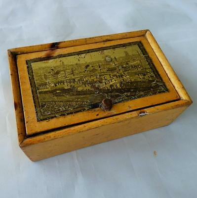EARLY TUNBRIDGE WARE SPOOL BOX c1820 UNUSUAL image EDINBURGH ? ANTIQUE