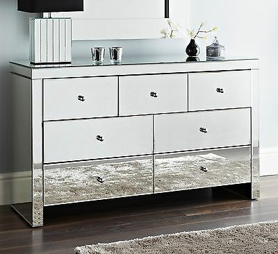 Mirrored 7 Drawer Chest of drawers Cabinet unit