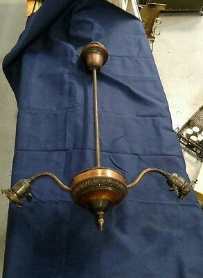 Reclaimed Vintage Antique Japanned 2 Arm Hanging Light Fixture. As Found. Decent