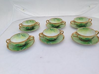 Ginori 6 Soup Bowl Saucers Sinori Signed Hand Painted Lily Of The Valley Gold