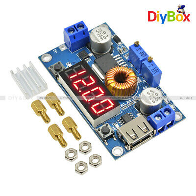 Adjustable 5A CC/CV Power Step-down Charge Module LED Driver USB Voltmeter DIY