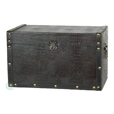 Vintiquewise Decorative Leather Wooden Trunk