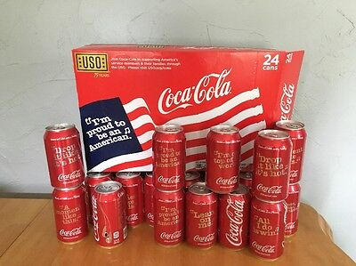 "Coca~Cola Case USO 75yrs ""I'm Proud to be an American"" Share Songs 24 Empty Coke"