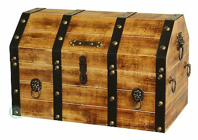 Vintiquewise Large Wooden Pirate Lockable Trunk with Lion Rings