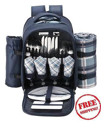 4 Person Picnic Backpack Blue Outdoor Rucksack Deluxe Camping Set & Cooler Space