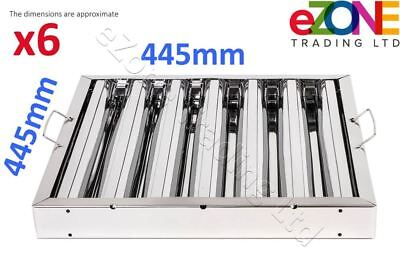 """6x Canopy Baffle Grease Filter Stainless Steel 18x18x2"""" 445x445x48cm Extraction"""