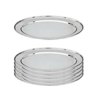 6x Oval Platter, 600mm, Stainless Steel, Oval w Rolled Edge, Plate / Catering