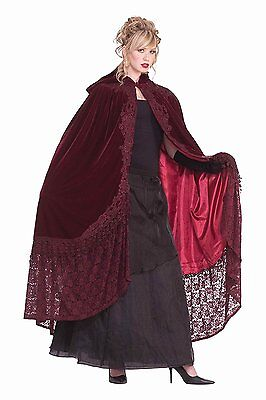 Victorian Hooded Cape With Lace Halloween Costume Accessory Adult  Women Velvet