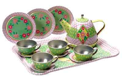 Children's Play Tin Tea Set Party for Kids Metal Teapot and Cups New