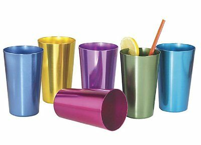 Drinking Glass Aluminum Tumbler Durable Rainbow Retro Color Sturdy Outdoor Bar