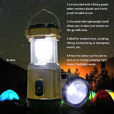 Multi-function Rechargeable Collapsible LED Solar Camping Light & USB Power Bank