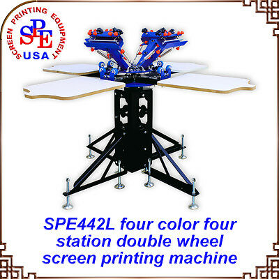 4 Color 4 Station Double wheel Screen Printing Machine Printer Press Equipment