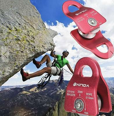 20KN Mountain Rock Climbing Climb Mobile Pulley Single Side 13mm Rope Gear Tool