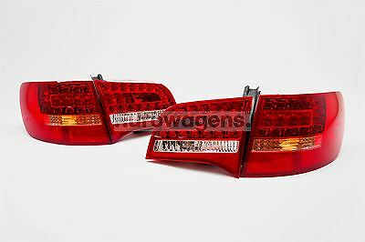 Audi A6 04-08 Estate LED Red Clear Rear Tail Lights Lamps Set Pair Upgrade