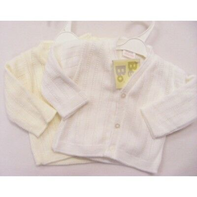 New Baby Girls / Boys White or Cream Knitted Cardigan with buttons - 0-9 month