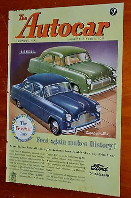 1951 Ford Zephyr & Consul On Autocar Cover + Girling Brakes British Ad On Back