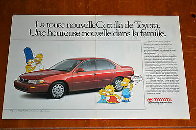 French 1993 Toyota Corolla Sedan Canadian Ad - With The Simpsons