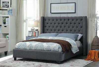 Meridian Ashton  Queen Size Bed Linen Upholstered Grey Chic Contemporary Style