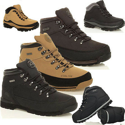 Mens Groundwork Leather Steel Toe Cap Saftey Boots Ankle Work Shoes Trainers Siz