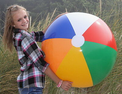 "36"" Standard SIX COLOR Inflatable Beach Ball, Glossy Vinyl, Traditional Colors"