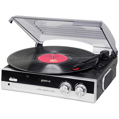 Groov-e Retro Series Vinyl Turntable Record Player with Built-in Speakers Black