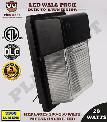 LED Wall Pack 25Wt Outdoor Dusk to Dawn Sensor UL DLC  Replaces 150W HID 5000K