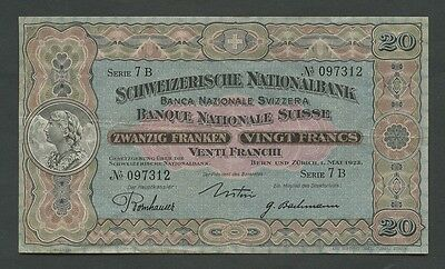 Switzerland - 20 francs 1923 P33a  About VF  ( Banknotes )