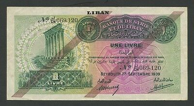 LEBANON - 1 livre  1939  P26  choice About VF  ( Banknotes )
