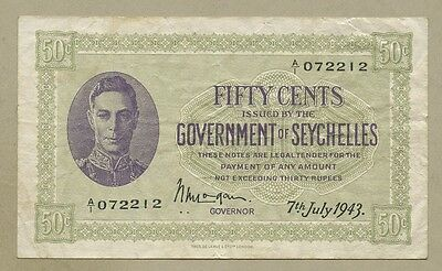SEYCHELLES - 50c  1943  KGVI  P6a  F-VF  ( Banknotes )