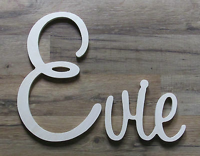 Connected Wooden Wall Name - Medium - Playful Font - Unpainted - Personalized