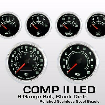 C2 60s Muscle 6 Gauge Set, Stainless Bezels, 0-90 Ohm Fuel Level, 2964SS