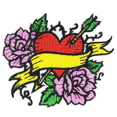 Tattoo Heart Roses Iron On Patch Rockabilly Punk Retro Sew Flash Embroidered
