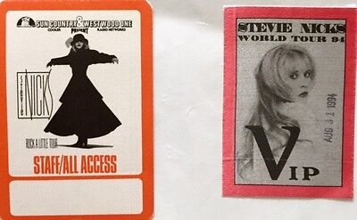Stevie Nicks - SET OF TWO Backstage Concert Passes - RARE - Two Different Tours!