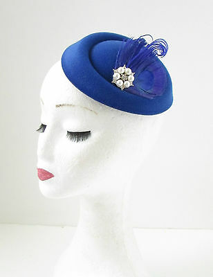Blue White Peacock Feather Pillbox Fascinator Hat Headpiece Vintage Races 140