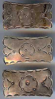 Three Vintage Sterling Silver Navajo Indian Stampwork Large Rectangle Buttons