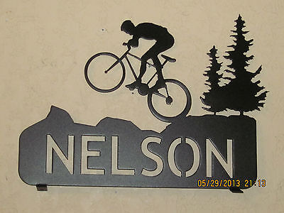 Mountain Bike Mailbox Topper ( Your Name) Metal Art Plasma Art