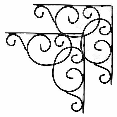 2 x Decorative Iron Wall Shelf Bracket Cister  Black Vine Simple Scroll Style