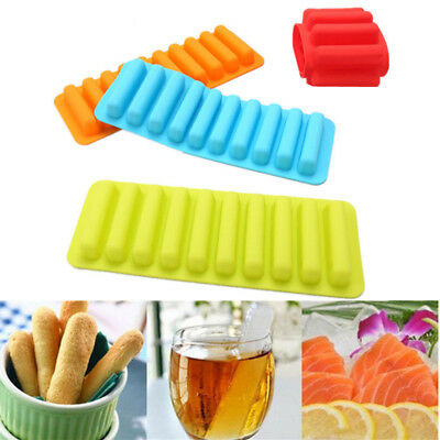 DIY Silicone Mould 10 Cups Cylinder Shape Fingers Cookies Biscuit Ice Pop Molds