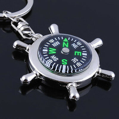 Portable Sport Outdoor Camping Hiking Metal Precise Keychain Compass Rudder Ring