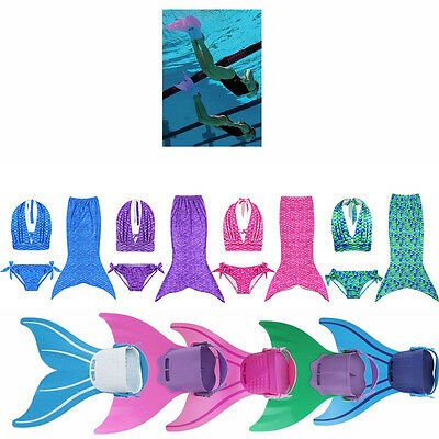 3pcsGirls Tops Panties Mermaid Tail for Swimming Mono fin Swimmable wear Costume