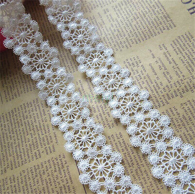 5 yd Vintage Flower Embroidered Lace Edge Trim Ribbon Wedding Applique DIY Craft