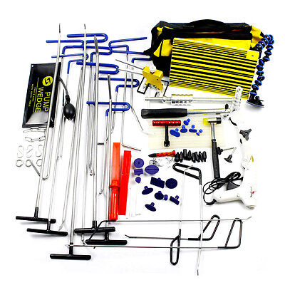 PDR Repair Puller Hail Rods Tool+Paintless Removal Lifter Hammer+Line Board Kits
