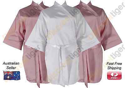 New Bridesmaid Bridal Satin Robe Bulk Pack White Pink 3 sizes Quick Delivery