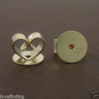 Genuine 9CT Solid Yellow Gold Disc Butterfly Earring Backs 5mm - 1 Pair