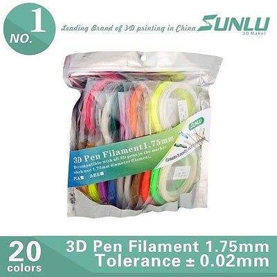 3D Pen Refill Filament 10 ABS & 10 PLA Mix 1.75mm 20 Colors 5M 4 Glow in Dark