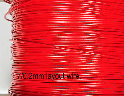 Layout wire - RED 7/0.2 equipment wire for general wiring for N & OO gauge 10M.