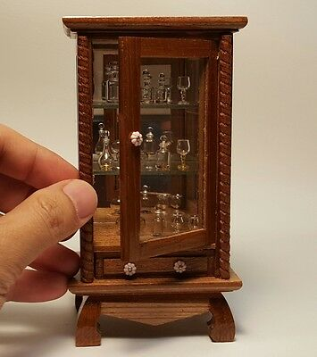 Vintage wood cabinet, shelves wine glass bottles, jar glass, dollhouse miniature