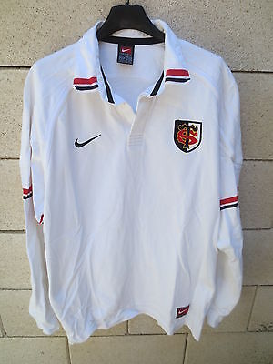 VINTAGE Maillot rugby STADE TOULOUSAIN 2000 Nike blanc coton shirt collection L